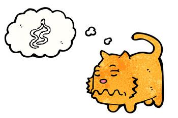 cat thinking about worms, cartoon