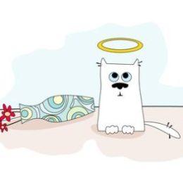A cartoon cat feeling guilty about breaking a vase