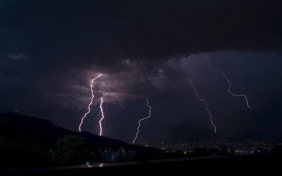 Lightning and thunder over Innsbruck,Austria.
