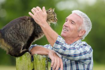domestic cat and a farmer