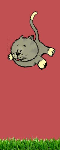 Cat falling on feet, cartoon